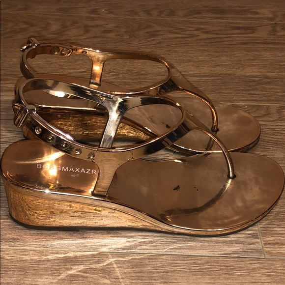 vast selection amazing selection 50% off BCBGMaxAzria Shoes   Bcbg Rose Gold Sandals Size 5 2 Inch Wedge ...